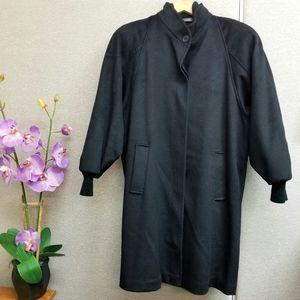 Vintage long heavy wool blend black coat